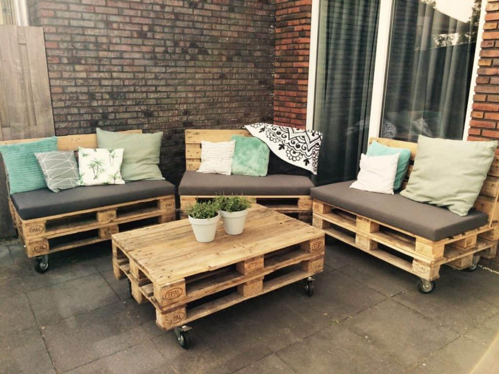 Tuinbank pallets schuine rugleuning zelf maken bouwtekening